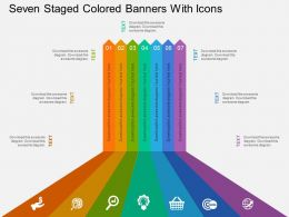 Cp Seven Staged Colored Banners With Icons Flat Powerpoint Design