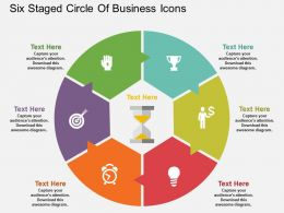 Cp Six Staged Circle Of Business Icons Flat Powerpoint Design