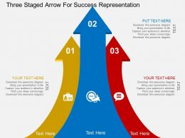 cp Three Staged Arrow For Success Representation Flat Powerpoint Design