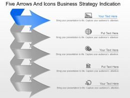 cq Five Arrows And Icons Business Strategy Indication Powerpoint Template