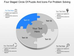 cq Four Staged Circle Of Puzzle And Icons For Problem Solving Powerpoint Template