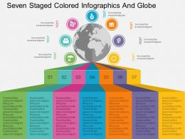 Cq Seven Staged Colored Infographics And Globe Flat Powerpoint Design