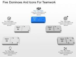 cr Five Dominoes And Icons For Teamwork Powerpoint Template