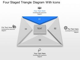 Cr Four Staged Triangle Diagram With Icons Powerpoint Template