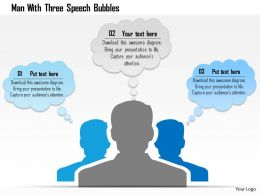 Cr Man With Three Speech Bubbles Powerpoint Template