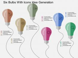Cr Six Bulbs With Icons Idea Generation Flat Powerpoint Design