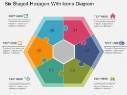 cr Six Staged Hexagon With Icons Diagram Flat Powerpoint Design
