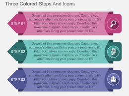 cr Three Colored Steps And Icons Flat Powerpoint Design