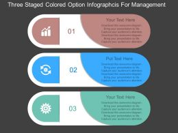 cr Three Staged Colored Option Infographcis For Management Flat Powerpoint Design