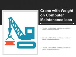 Crane With Weight On Computer Maintenance Icon