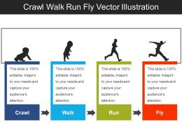 Crawl Walk Run Fly Vector Illustration