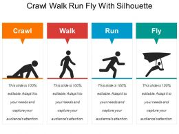 Crawl Walk Run Fly With Silhouette