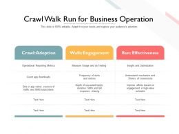 Crawl Walk Run For Business Operation