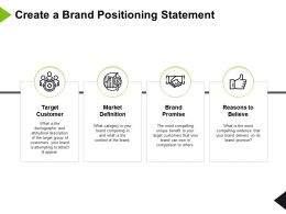 Create A Brand Positioning Statement Reasons Definition Ppt Powerpoint Presentation Icon Slides