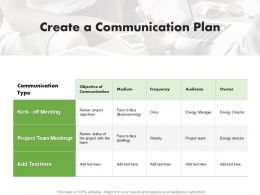Create A Communication Plan Ppt Powerpoint Presentation Summary