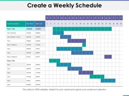 Create A Weekly Schedule Ppt Summary Graphics