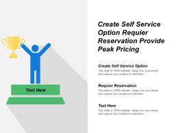 Create Self Service Option Require Reservation Provide Peak Pricing