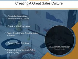 Creating A Great Sales Culture Powerpoint Slide Clipart