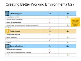 Creating Better Working Environment Ppt Powerpoint Slides