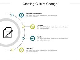 Creating Culture Change Ppt Powerpoint Presentation Outline Example File Cpb