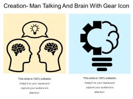 Creation Man Talking And Brain With Gear Icon