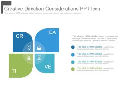 Creative Direction Considerations Ppt Icon