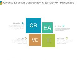Creative Direction Considerations Sample Ppt Presentation
