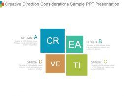 Creative Direction Considerations Sample Ppt Presentation