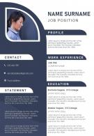 Creative Resume Template For Job Application CV Design