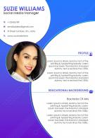 Creative Resume Template For Social Media Manager CV Sample