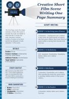 Creative Short Film Scene Writing One Page Summary Presentation Report Infographic PPT PDF Document