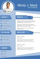 Creative Visual Resume Format For Photographer Infographic
