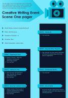 Creative Writing Event Scene One Pager Presentation Report Infographic PPT PDF Document