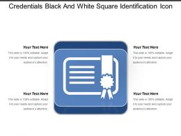 Credentials Black And White Square Identification Icon
