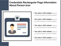 Credentials Rectangular Page Information About Person Icon