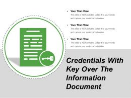 Credentials With Key Over The Information Document