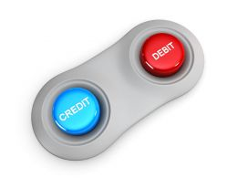 Credit And Debit Buttons For Finance Stock Photo