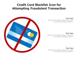 Credit Card Blacklist Icon For Attempting Fraudulent Transaction