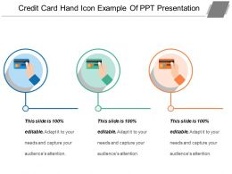 Credit Card Hand Icon Example Of Ppt Presentation