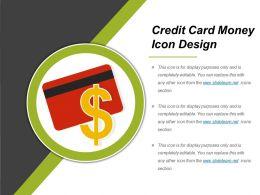 Credit Card Money Icon Design Ppt Design Templates