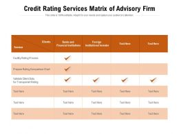 Credit Rating Services Matrix Of Advisory Firm
