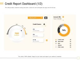 Credit Report Dashboard Account Mix Ppt Powerpoint Presentation Infographics Graphic Images