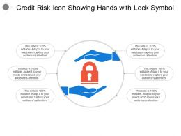 Credit Risk Icon Showing Hands With Lock Symbol