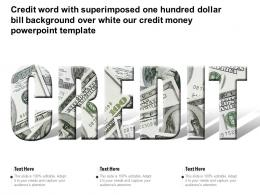 Credit Word With Superimposed One Hundred Dollar Bill Over White Our Credit Money Template