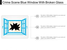 Crime Scene Blue Window With Broken Glass