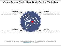 Crime Scene Chalk Mark Body Outline With Gun