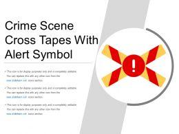 Crime Scene Cross Tapes With Alert Symbol
