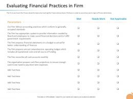 Crisis Management Capability Evaluating Financial Practices In Firm Accounts Monthly Ppt Icon