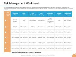 Crisis Management Capability Risk Management Worksheet Likelihood Risk Ppt Information