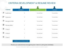 Criteria Development And Resume Review Ppt Powerpoint Show Inspiration